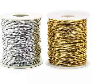 Cordão Fio Elástico Fitilho Com Elastano 50metros Trança Box Braids Decoração de Cabelo Prata