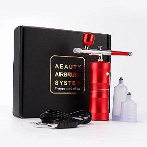 Aerógrafo Airbrush Para Unhas Maquiagem Cabelo e Decoração De Bolos - Vermelho