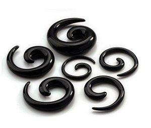 Alargador Espiral Caracol Preto Acrílico Hiphop Gótico Expansor para Orelha 12mm