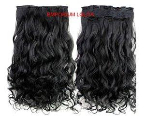 Aplique Alongamento Tic Tac Mega Hair Orgânico Liso Preto 140gr Perfeição Preto Ondulado