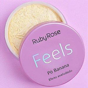 Pó Banana Ruby Rose Pó Facial Maquiagem Pó Solto para Acabamento Efeito Aveludado Feels