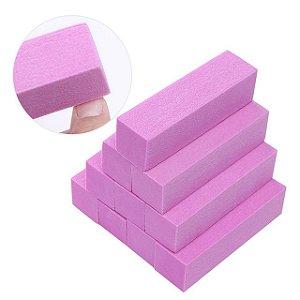 Lixa Bloco Polidora Unhas Acrílico Gel Fecha Poros Rosa