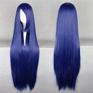 Peruca Longa Lisa Azul Escuro 100cm Cosplay