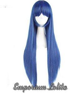 Peruca Azul 80cm C Franja Cosplay