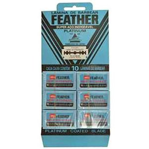 Kit 6 Feather Com 10 Lâminas De Barbear 60 Laminas