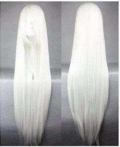 Peruca Longa Branca Cosplay 100cm - 1 Metro