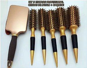 5 Escovas Cerdas De Javali Profissional + Raquete / Dourado