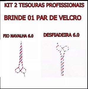Kit 2 Tesouras Barber Pole Fio Navalha + Desfiadeira+ Velcro
