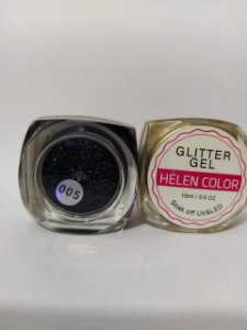 Gel Helen Color Glitter 15ml Encapsulada Preto
