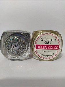Gel Helen Color Glitter 15ml Encapsulada Prata