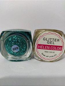 Gel Helen Color Glitter 15ml Encapsulada Verde Azulado