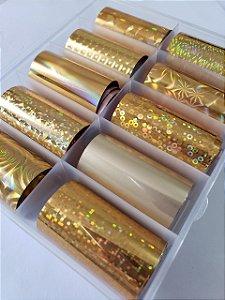 kit 10 foil Dourado para decoração de unha