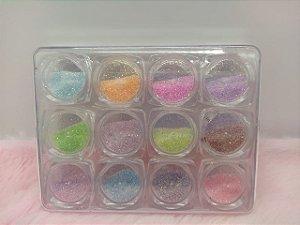Glitter Pó De Açúcar Encapsulada Kit Com 12 Nails Decoração