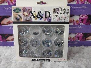 Kit 12 Formatos Diferente Decoração Prata Encapsulamento X&D