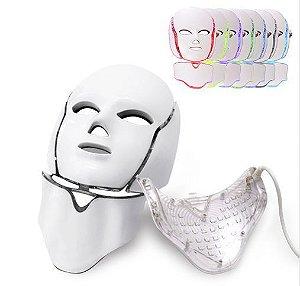 Máscara de LED com Pescoço Para Terapia Facial 7 Cores
