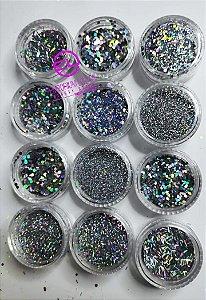 Kit 12 decoração Glitter Prata para Encapsular