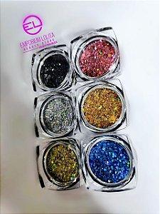 Kit 6x Glitter Flocado Coloridos Para Encapsulamento De Unha