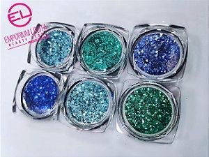 Kit 6x Glitter Sereia P/encapsulamento De Unha