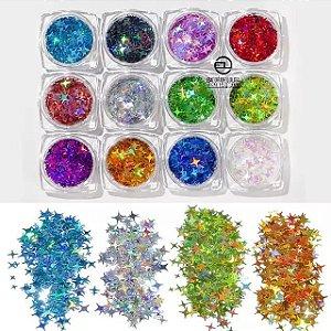 Kit 12 Estrelas quatro pontas varias cores Para Decoração