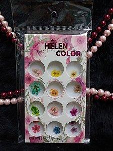 12 Flores Secas Para Encapsular Decoração Cores Uv Led - Helen Color