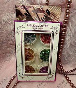 Glitter Flocado para Unha encapsulada - Contém 6 unidades - Helen Color
