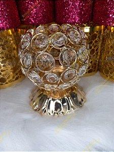 Porta Pincel Luxo Dourado & Crystal