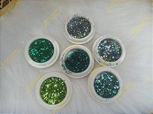 Kit Glitter Flocado Para Encapsulamento De Unhas Em Gel Acrigel Porcelana Fibra  - 6 Unidades