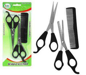 Kit 2 Tesouras e 1 Pente Barbearia Cabeleireiro