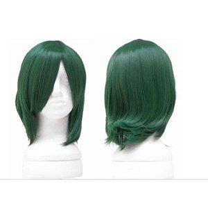 Peruca Lisa Curta Verde Chanel Fibra Organica 35cm Cosplay Fantasia
