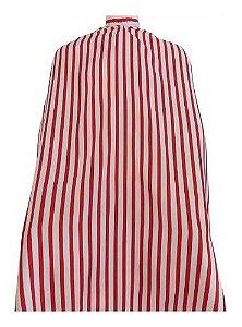 Capa De Corte Cabeleireiro Barbearia Cetim Gigante Listrada Preta e Vermelha