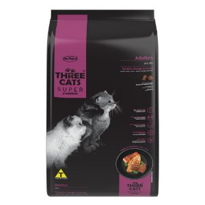 Three Cats Super Premium Gatos Adultos - Salmão, Frango e Carne