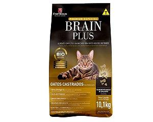 Brain Plus 10.1Kg para Gatos Castrados - Frango e Salmão
