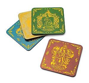Porta Copos em Metal Harry Potter Brasões 9 x 9 cm 4 unid