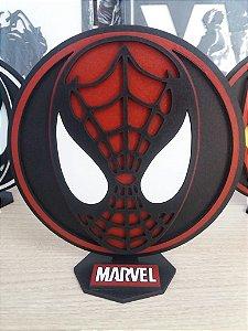 Brasão em MDF Marvel Homem Aranha 14,5 x 15,0 cm