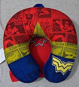 Almofada para Pescoço com Espuma Viscoelástica da Liga da Justiça Mulher Maravilha com Capa