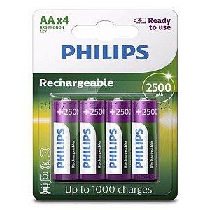Pilha Recarregável Philips AA C/4 2500 mAh