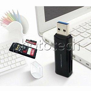LEITOR DE CARTÃO USB 3.0 SD E MICRO SD PRETO