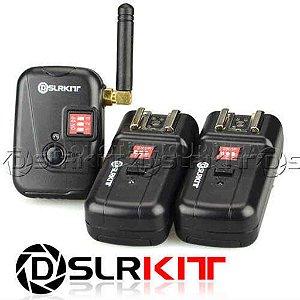 RADIO FLASH DSLRKIT PT-08XT 8 CANAIS 1 EMISSOR E 2 RECEPTORES