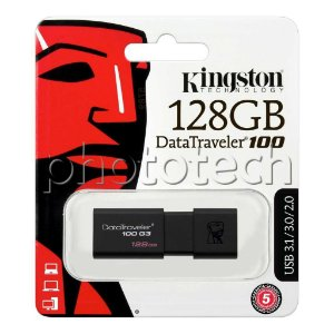 PEN DRIVE KINGSTON DATATRAVELER 100 128GB USB 3.0 130MB/s ORIGINAL LACRADO