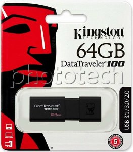 PEN DRIVE KINGSTON DATATRAVELER 100 64GB USB 3.0 100MB/s ORIGINAL LACRADO