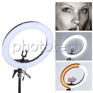 ILUMINADOR DE LED RING LIGHT 240 LEDS + FONTE AC 5500k 4800LM 48,26cm