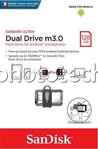 PEN DRIVE SANDISK DUAL DRIVE m3.0 128GB USB TYPE-C USB 3.0 150MB/s ORIGINAL LACRADO