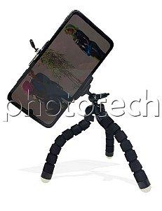 Mini Tripé Flexível Para Celular Tipo Polvo Com Suporte Preto