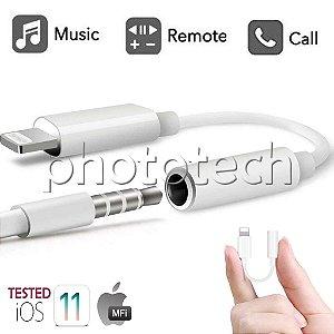 ADAPTADOR DE AUDIO IPHONE PARA PLUG 3,5 P2 LIGHTNING PARA MICROFONE E FONE