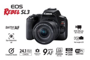 CÂMERA CANON EOS REBEL SL3 4K COM LENTE EF-S 18-55mm STM NA CAIXA