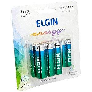 Pilha Alcalina Kit 6 AA + 2 AAA Elgin Energy Alkaline