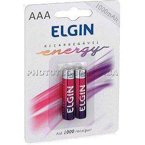 Pilha Recarregável Elgin AAA C/2 1000 mAh
