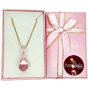 Colar com pingente de cristal artesanal gotinha rosa