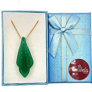 Colar com pingente de cristal camadas artesanal verde