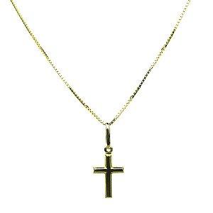 Colar ouro 18k com pingente cruz